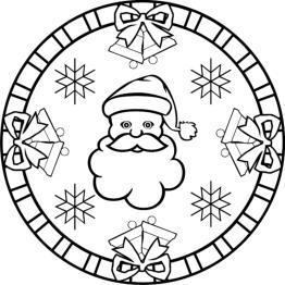 weihnachtsmandala zum ausdrucken: weihnachtsmann, glocken  sterne